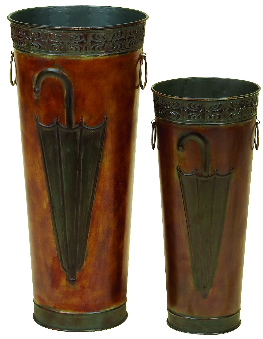 Benzara Set of 2 BM07627 Metal Umbrella Stand, Set of Two, Brown