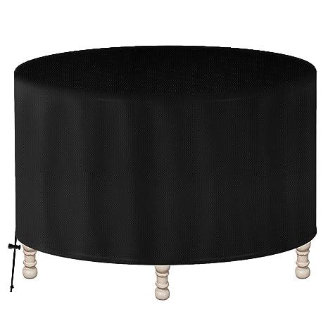 GreenEr Funda para Muebles de Exterior Cubierta de Mesa Circular Protectora de Polvo Agua Solar para Barbacoa sofá sillas de Exterior (128 x 71 CM)