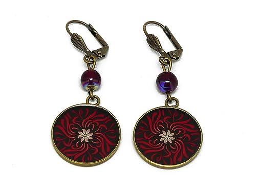 Orecchini Fiori rosso nero, ottone regali personalizzati regalo di