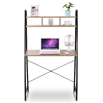 Amazoncom WOLTU Shelves Portable Computer Desk Wood Folding - Table for office use