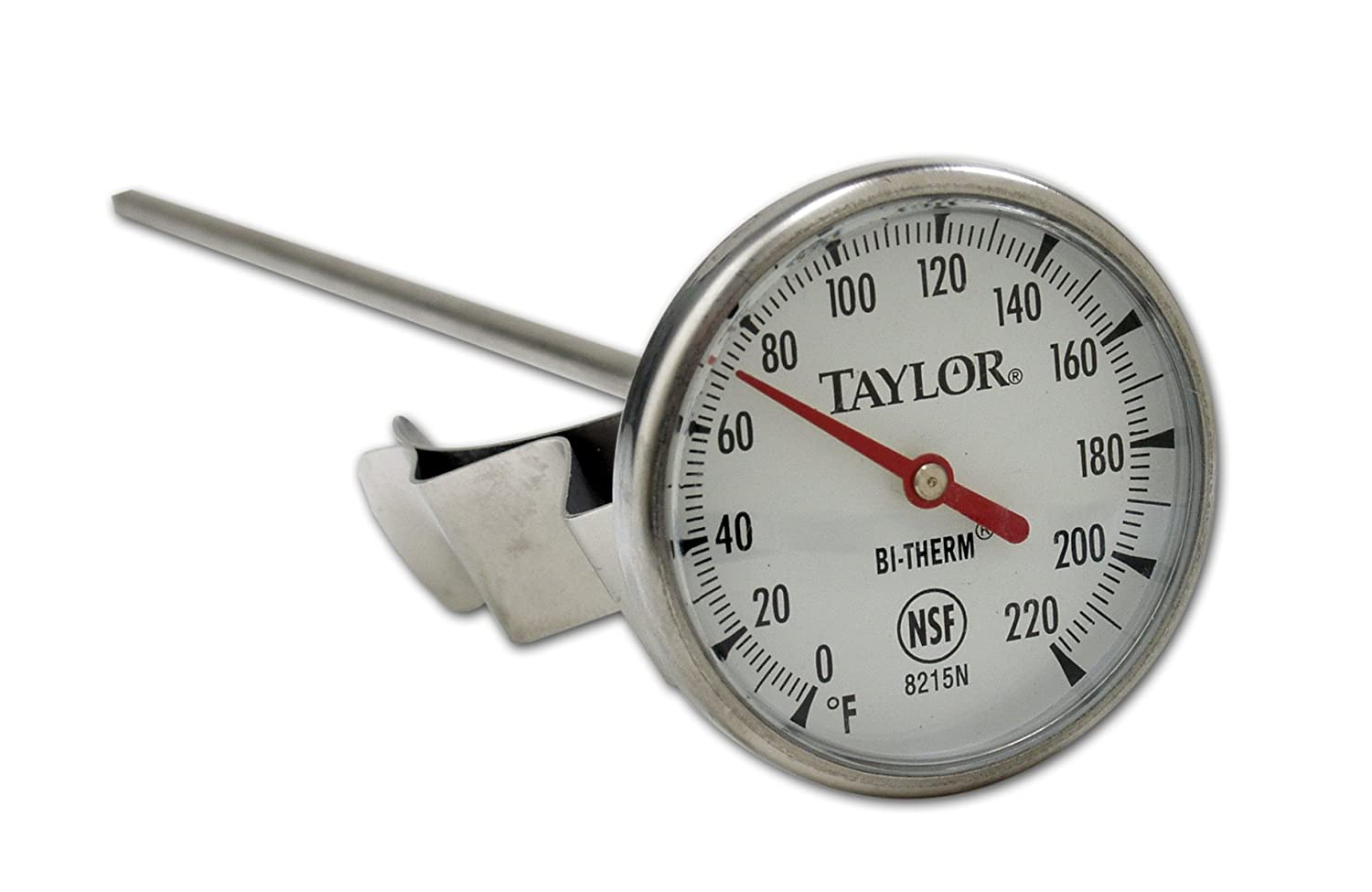 Taylor Precision 8215N 8-Inch Bi-Therm Pocket Dial Thermometer, 1.75-Inch Dial, 0 to 220 Degree F, NSF