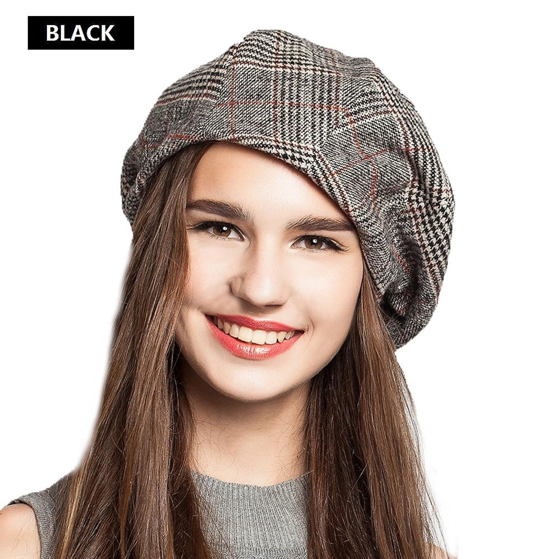 2fae79d681d EINSKEY Lady French Beret Wool Beret Cap Chic Winter newsboy Hat Grid  Striped Slouchy Beanie For Women