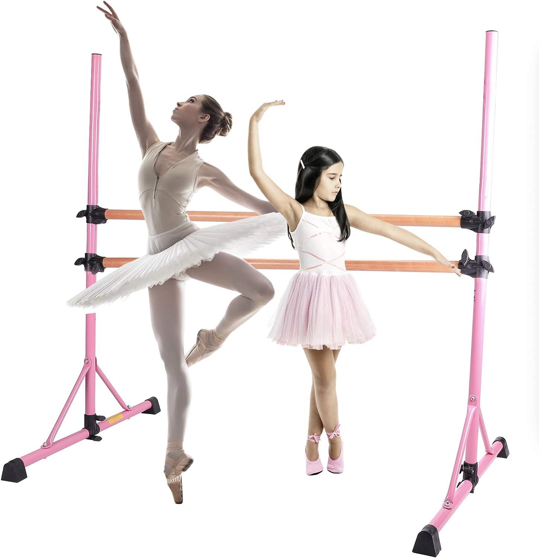 Zelus 5 Feet Ballet Barre Pink For 2 People Portable Double Freestanding Beech Wood Ballet Barre Adjustable Portable Heavy Duty Dancing Stretching Ballet Bar For Home Dance Barre Fitness Ballet Bar Ballet