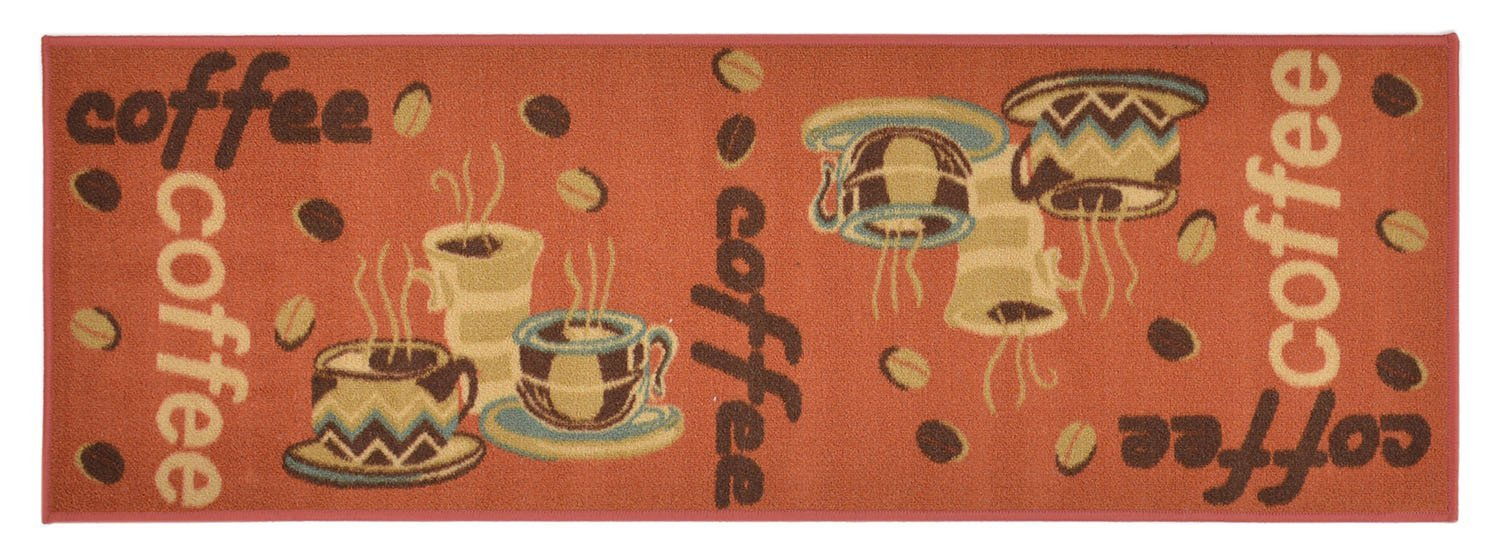 Kitchen Coffee Time Design Multi Color Runner Rug For Kithcen Hallway Laundry Room Entry Slip Skid Resistant Rubber Backing (Orange Rust, 2x5 Runner)