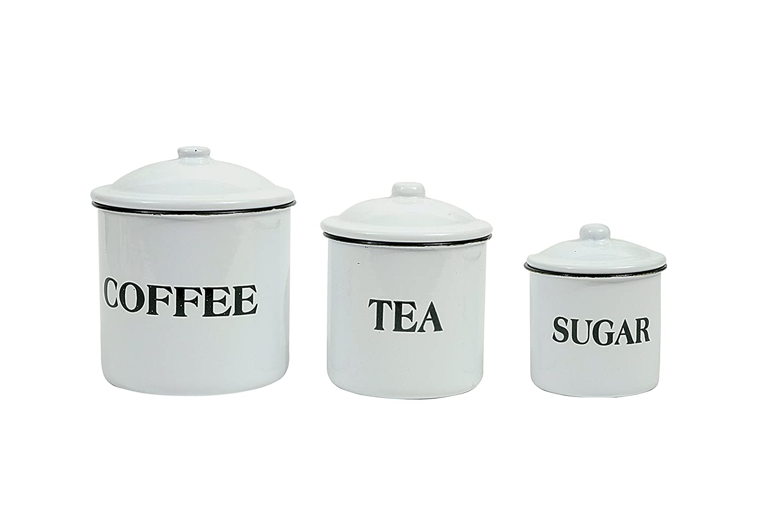 Amazon com creative co op da1985 set of 3 metal containers with lids coffee tea sugar food savers kitchen dining