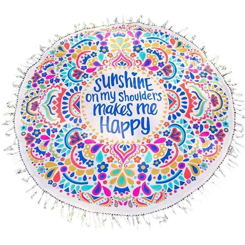 Amazon.com: Summer Round Beach Towel Sunshine Makes Me Happy Mandala Light Weight Tapestry: Home & Kitchen