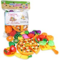 ThinkMax Play Food, 24Pcs Cutting Food - Pretend Food Set, Kitchen Toy Food Fun Cutting Fruits and Veggies with Pizza…