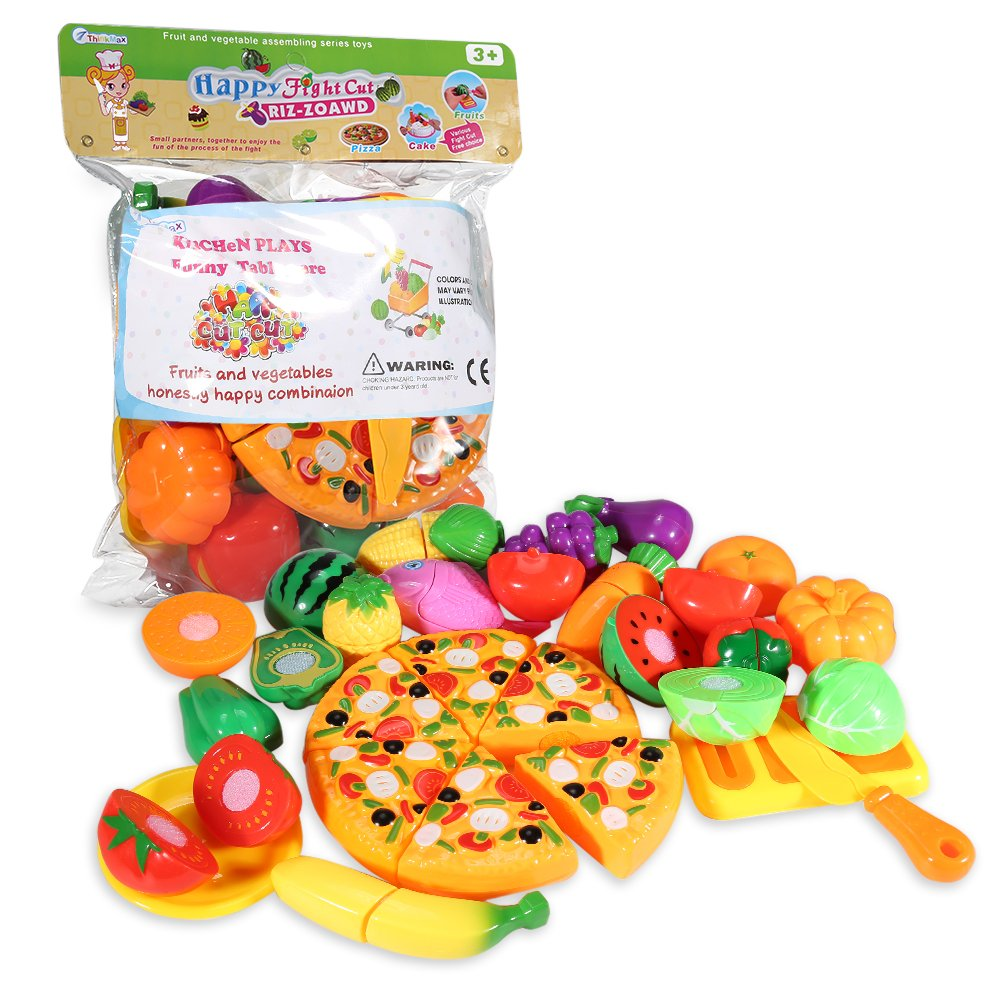 ThinkMax Play Food, 24Pcs Cutting Food - Pretend Food Set, Kitchen Toy Food Fun Cutting Fruits and Veggies with Pizza Playset for Kids