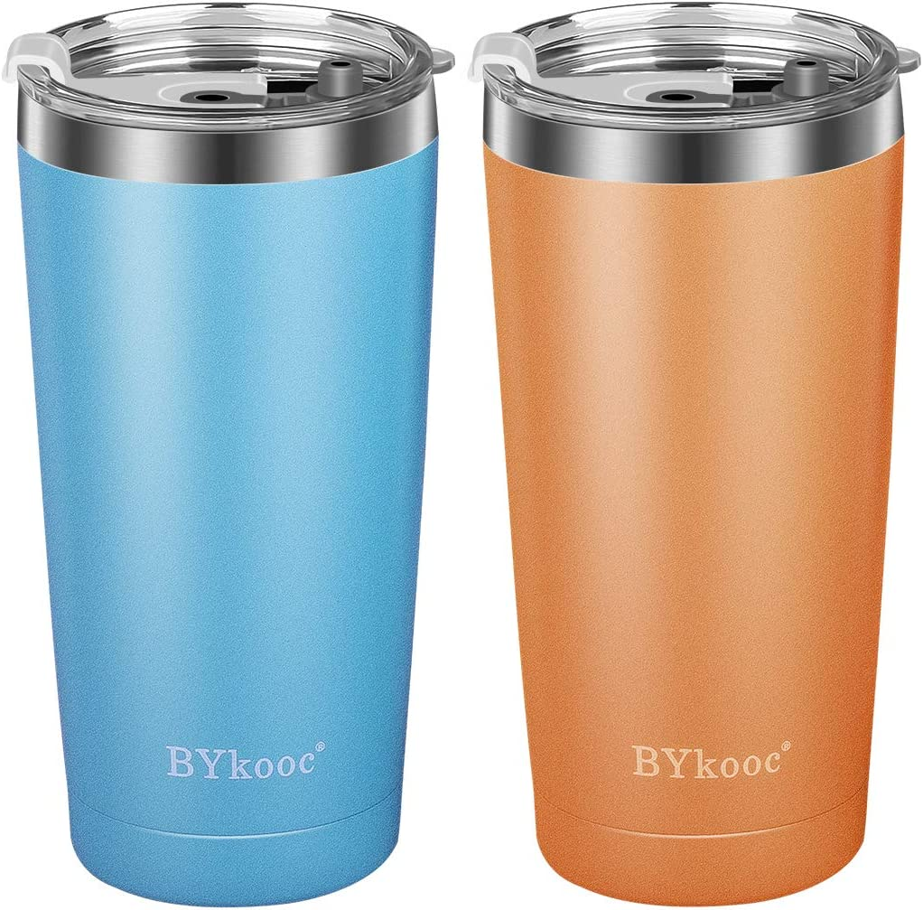 20 oz Tumbler with lid,BYkooc Stainless Steel Travel Coffee Mug and Straw,Vacuum Insulated Tumbler Cup,Double Wall Coffee Tumbler for Home,Office(Blue + Coral Orange)