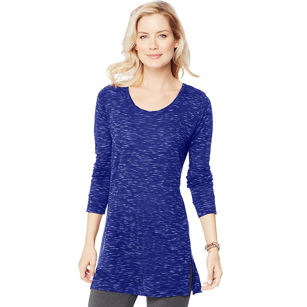 Hanes Women's Lightweight Spacedye Vented Tunic, Out of The Blue, Small