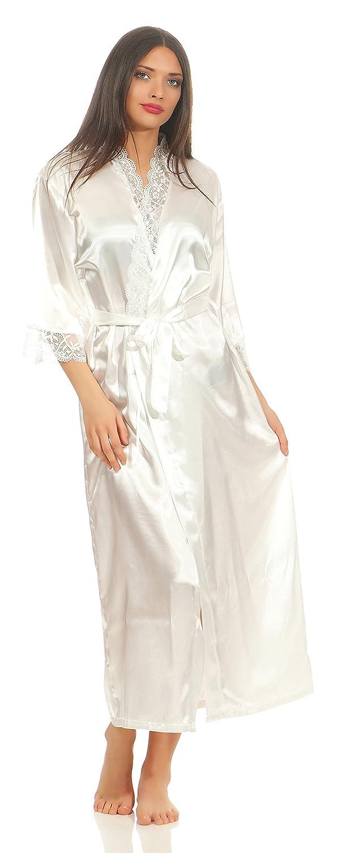 Damen langes Kimono Nachtmantel Seidenrobe Morgenmantel Nachtwäsche Dessous Satin Nightwear Reizwäsche mit Spitze Gr. S-XXL