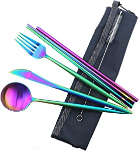 Gugrida Reusable Travel Utensils, 7 Piece Portable 304 Stainless Steel including Knife Fork Spoon Chopsticks Cleaning Brush Straws Portable Pouch, Eco-friendly Camping Silverware Set, Dishwasher Safe