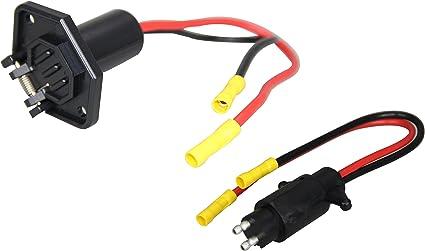 Boat Marine Motor Side Connector Female Trolling Motor Plug 2 Wire 12V 8 Gauge