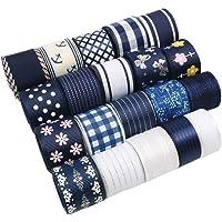 "David Angie 20 Yard Grosgrain Satin Organza Fabric Ribbon Set 5/8"" or 1"" Inch Navy Blue White Fabric Ribbon Assortment…"
