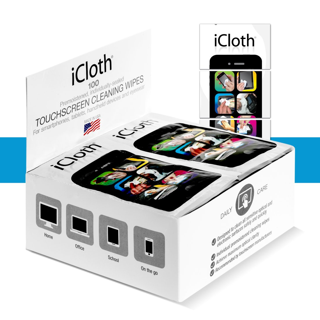 iCloth Small-Screen and Lens Cleaner | 100 cleaning wipes pre-moistened and individually sealed - Apply the promo and get a BONUS 10 Pack of our new XL Wipes FREE