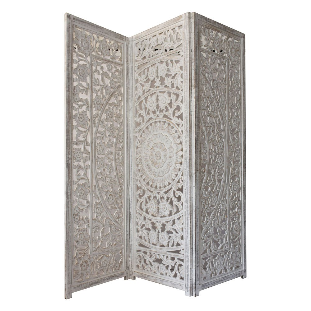 Indian Heritage Wooden Screen 3 Panel MDF Cutout Design in White Distress Finish