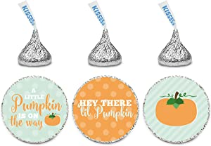 Andaz Press Chocolate Drop Labels Trio, Baby Shower, Autumn Fall Lil Pumpkin', 216-Pack, Fits Kisses Party Favors, Decor, Decorations