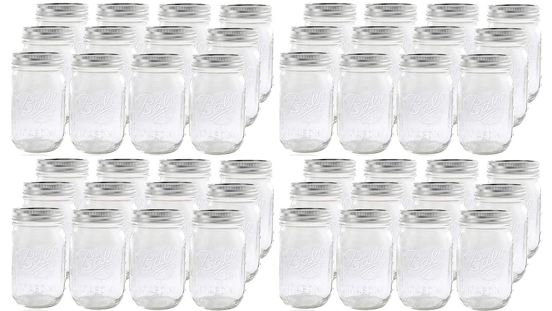 Ball Glass Mason Jar with Lid and Band 12 Jars Regular Mouth