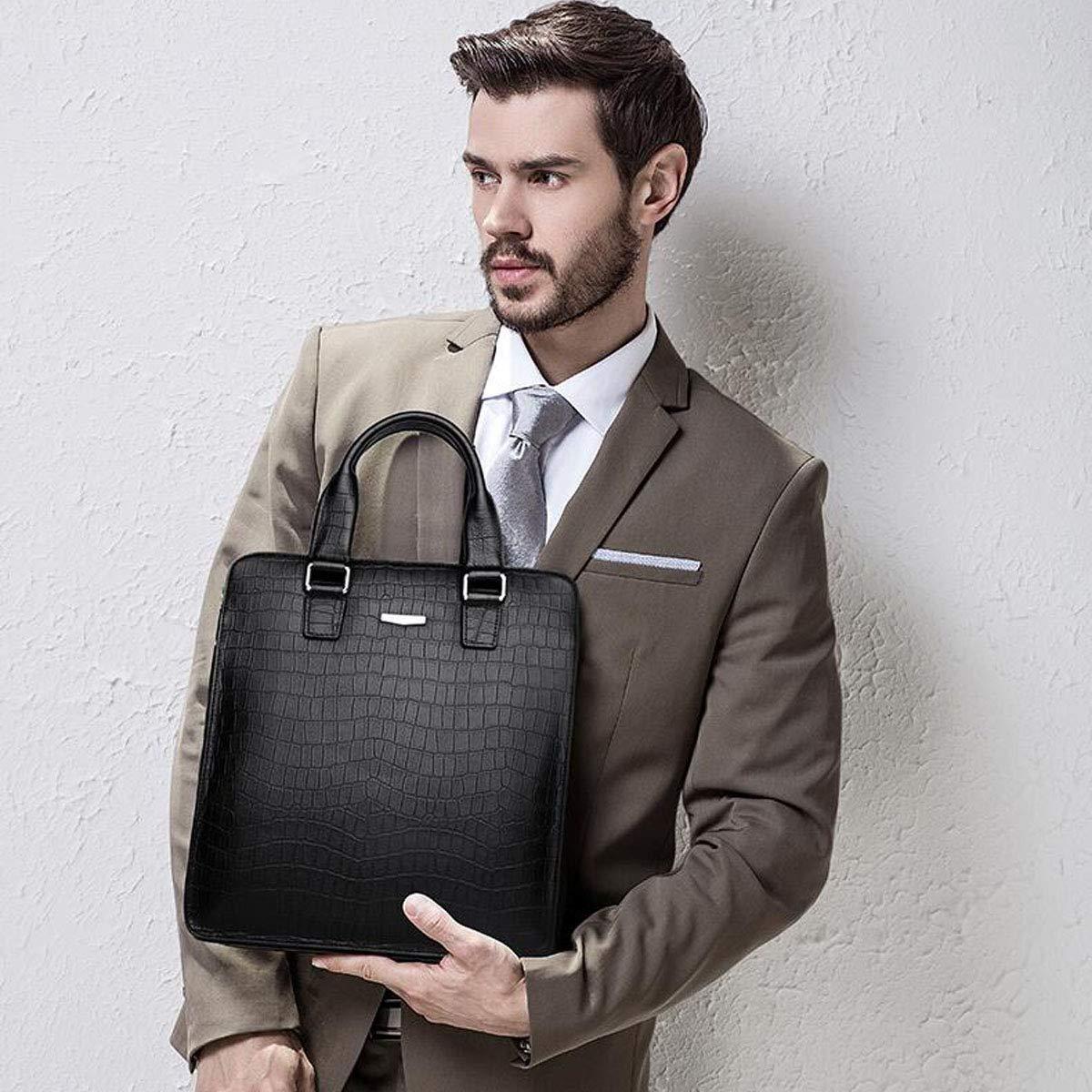 Color : Black 8haowenju Briefcase Black Size: 286.532cm Fashion Crocodile Pattern Mens Bag Large Capacity Computer Bag