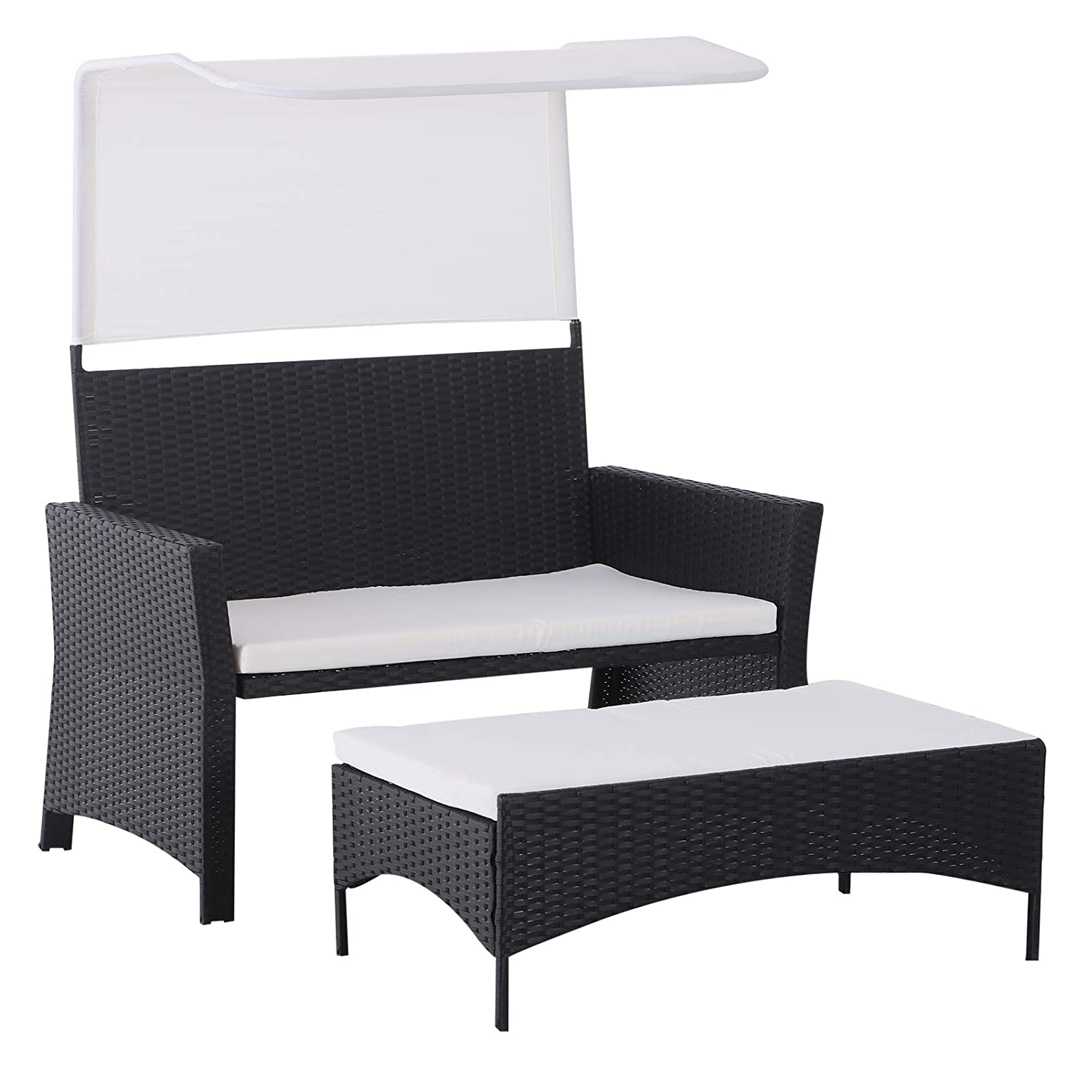 Outsunny 2 Piece Rattan Wicker Outdoor Loveseat with Sunshade Canopy and Nesting Ottoman Footrest Black