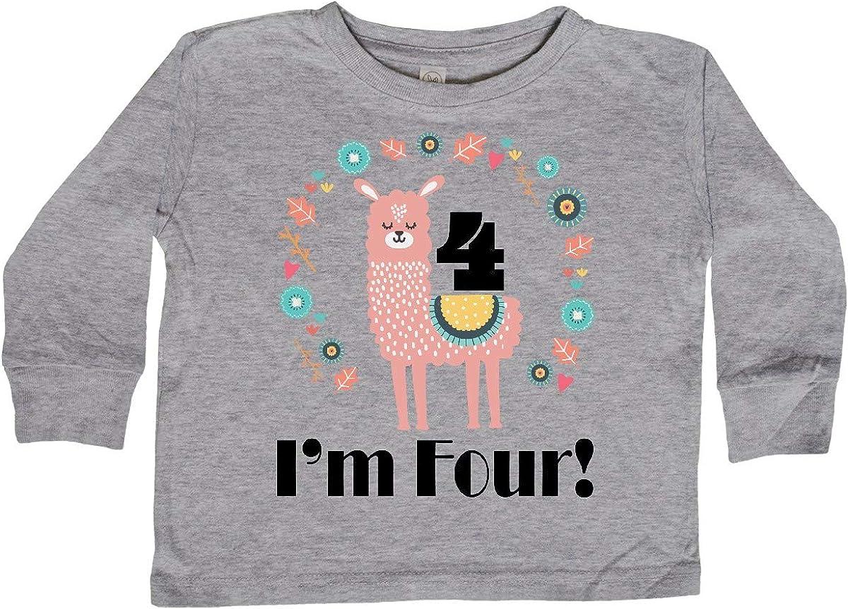 inktastic 4th Birthday Llama for Girl Toddler Long Sleeve T-Shirt