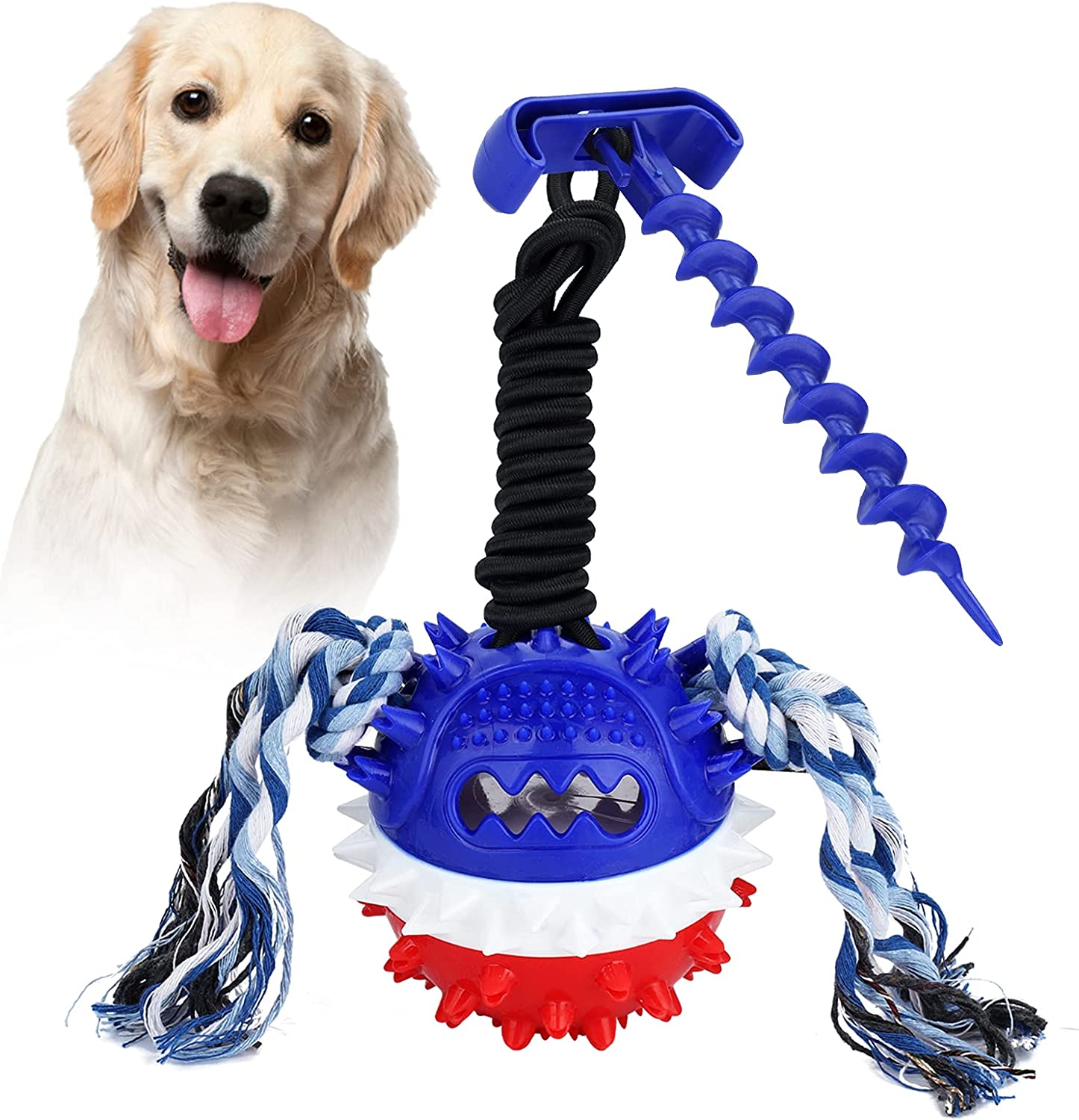 Dogs Training Treats Teething Rope Toy with Lawn Bolt, Outdoor Interactive Toy for Puppy, with Leaking Trough, Dog Rope Toys for Aggressive Chewers for Small Large Dogs, Durable Chew Toys for Boredom