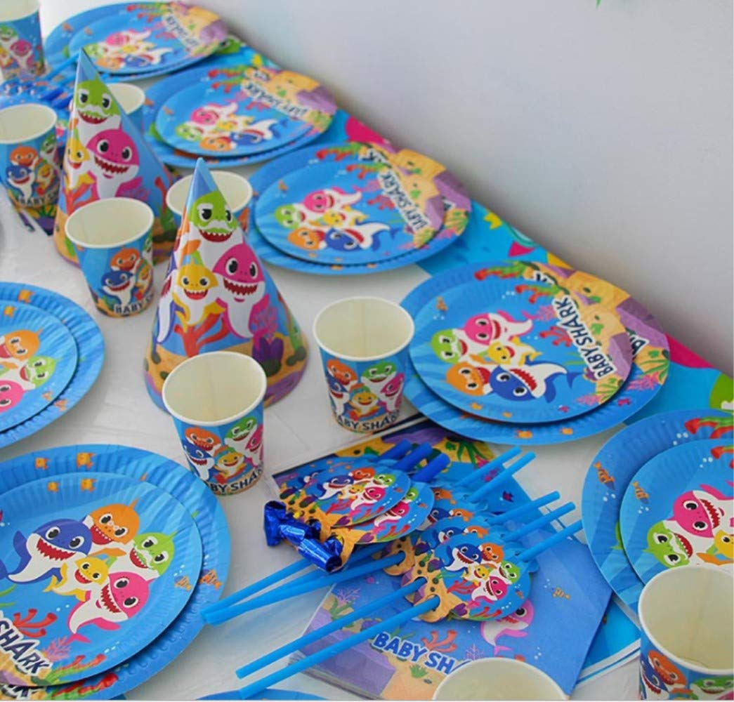 Baby Shark Themed Party Supplies Set Baby Shark Plates and Napkins Magical Baby Shark Birthday Party Decorations for Girls and Baby Shower