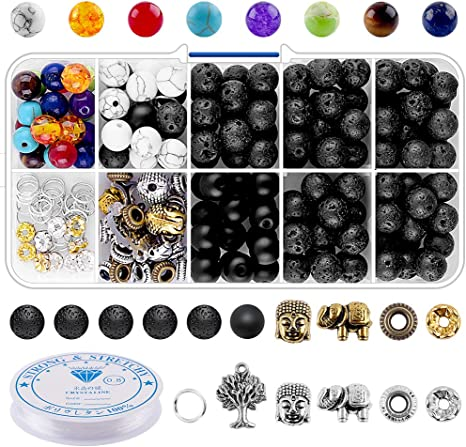 8mm 6mm 4mm Lava Stone Rock Beads Chakra Beads Spacers Beads with 2 Rolls Elastic Bracelet String and Needle for Essential Oils Bracelet Necklace Jewelry Making 752pcs Lava Beads Kit
