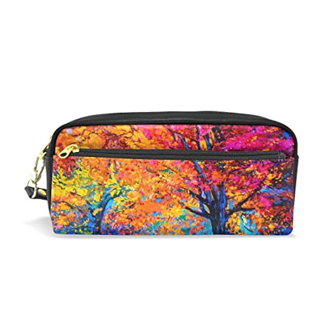 e8c66d22fd2f Naanle Colorful Trees Modern Art Painting Portable Woman Makeup Jewelry Bag  Pencil Bag Pouch Holder Toiletries