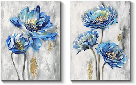 Amazon Com Tar Tar Studio Flower Canvas Art Wall Decor Bloom Artwork Floral Painting Print On Canvas For Bedroom Living Room 24 H X 18 W X 2 Panels Posters Prints