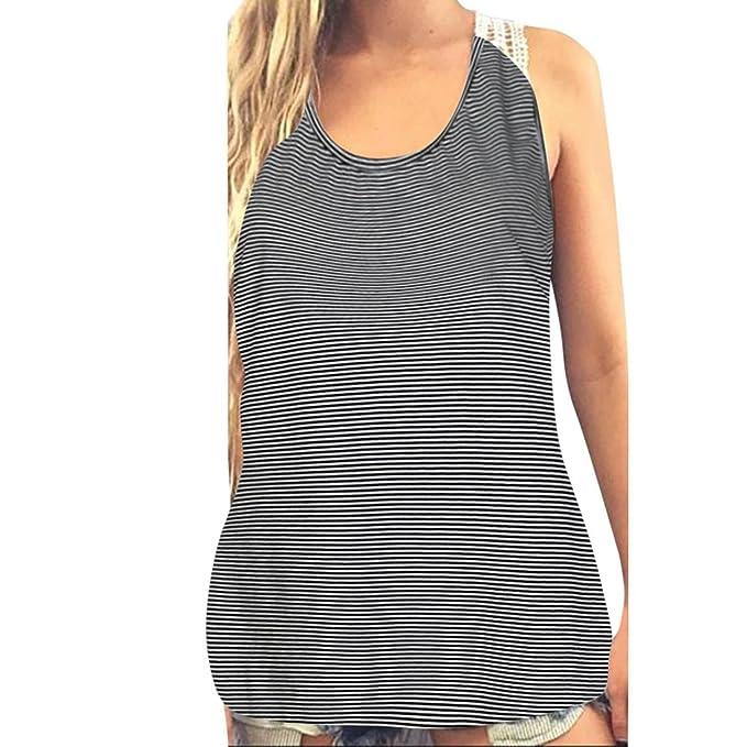 Mujer Camiseta Tirantes EUZeo Floral Impreso Blusa Escote Sin Manga Cuello Camisola Espalda Elegante Camisas Sin