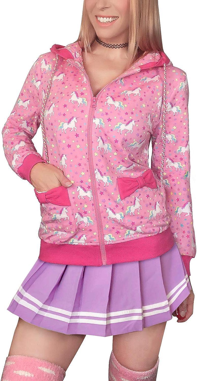 LittleForBig Womens Casual Regular Fit Long Sleeve Zip-up Drawstring Hoodie Sweetheart Jacket Unicorn Pattern
