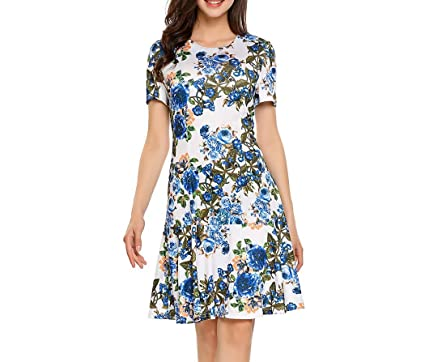 31075d4a75 Memoriesed Vintage Dress Women Rose Floral Print O-Neck Short Sleeve ...