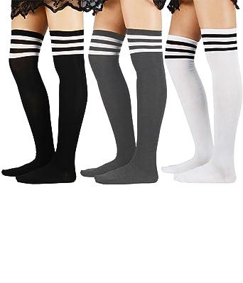 5b0b00bc35cb9 Women Schoolgirls Thigh High Stockings Kawaii Cosplay Over Knee Uniform  Casual Athlete Long Tube Dress Socks
