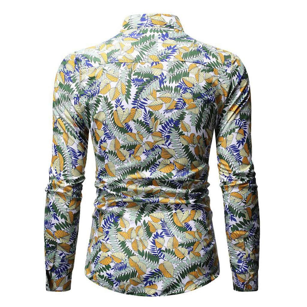 Mens Hawaiian Style Vintage Printing Leisure Button Turn Down Collar Long-Sleeved Shirt Tops Blouse