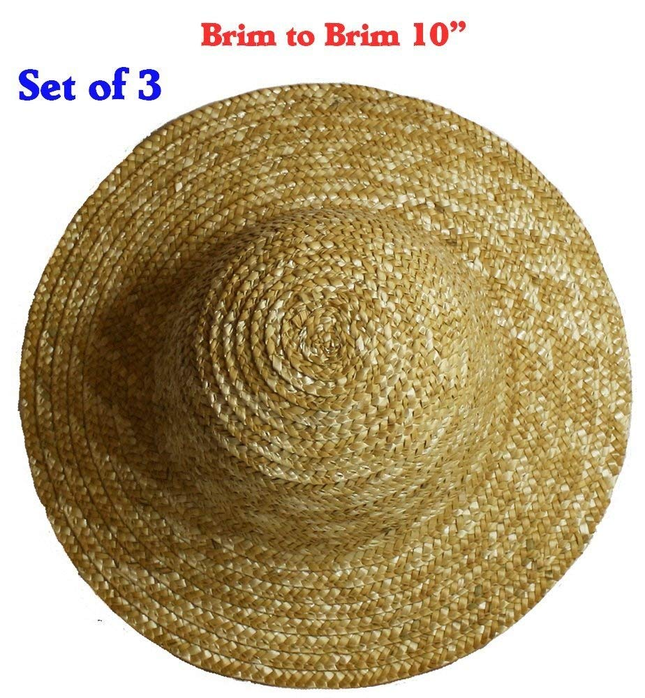 10 Inches Vintage Round Top Straw Woven Hat for Dolls Bears Country Crafts Set of 3
