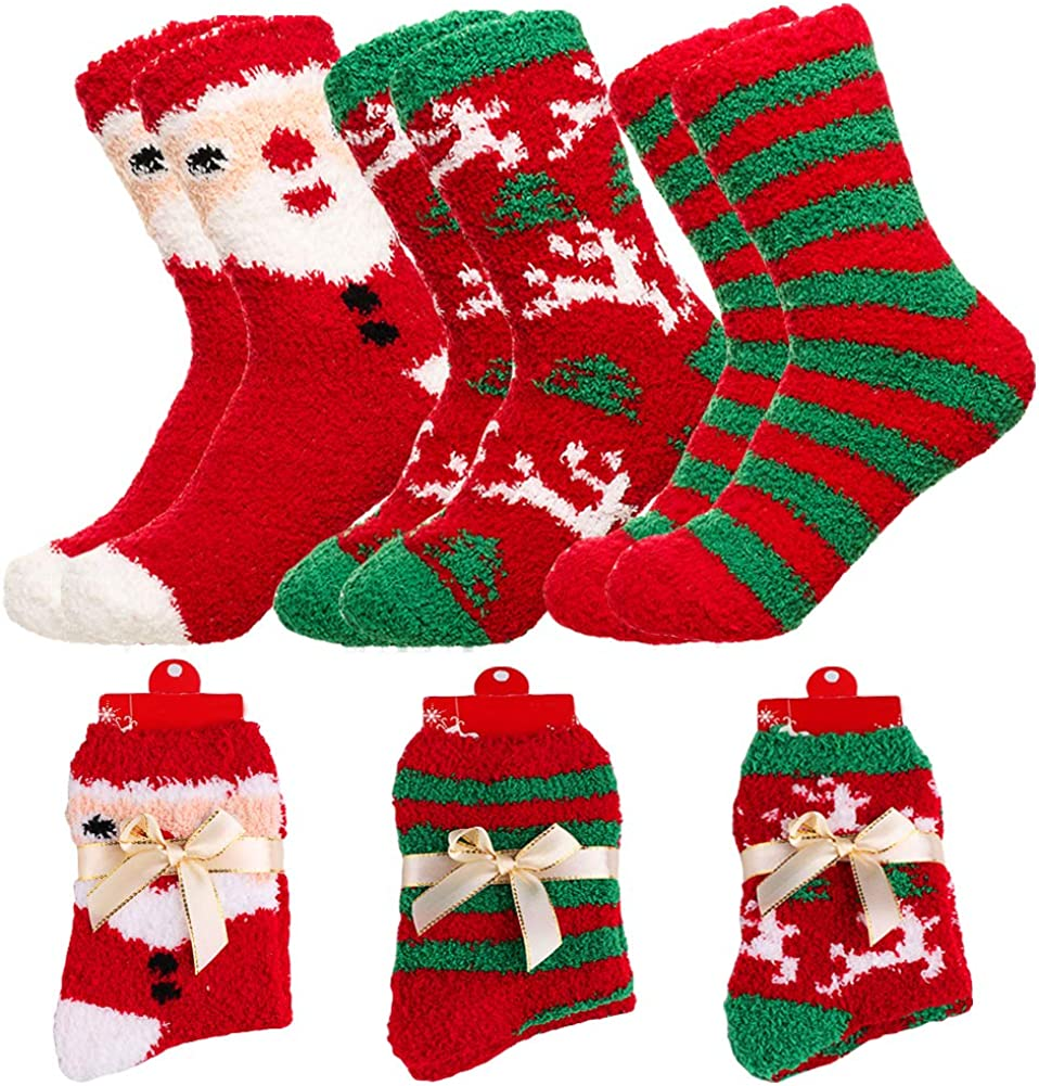 2 Pairs Ladies Soft Fluffy Cosy Bed Socks Winter Warm Casual XMAS Christmas Gift