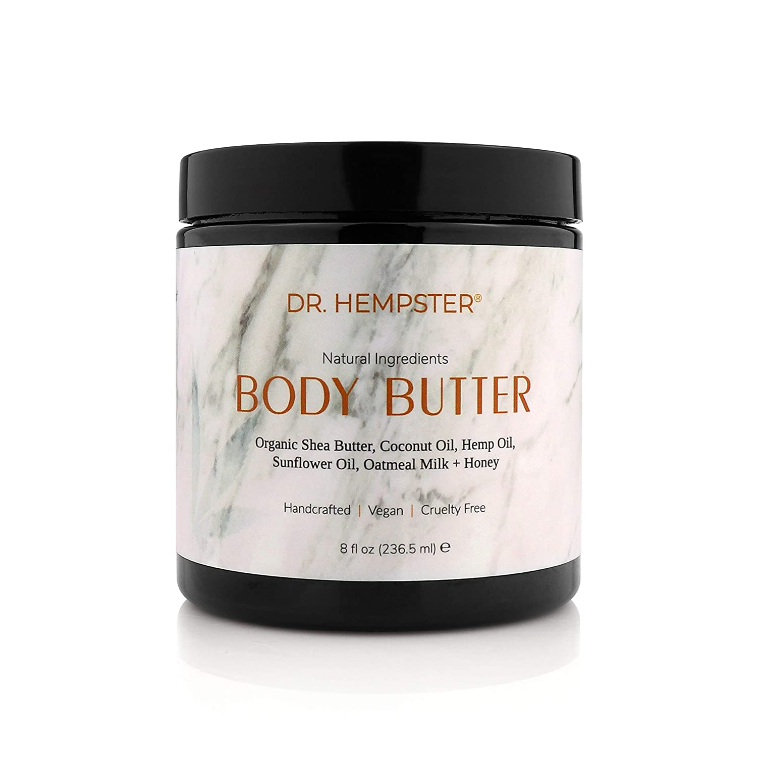Shea Body Butter with Hemp Oil - Natural Moisturizing Body Lotion for Dry Skin, Eczema with Organic Shea Butter, Coconut Oil, Oatmeal Milk, Sunflower Oil, Honey - Handcrafted, Vegan