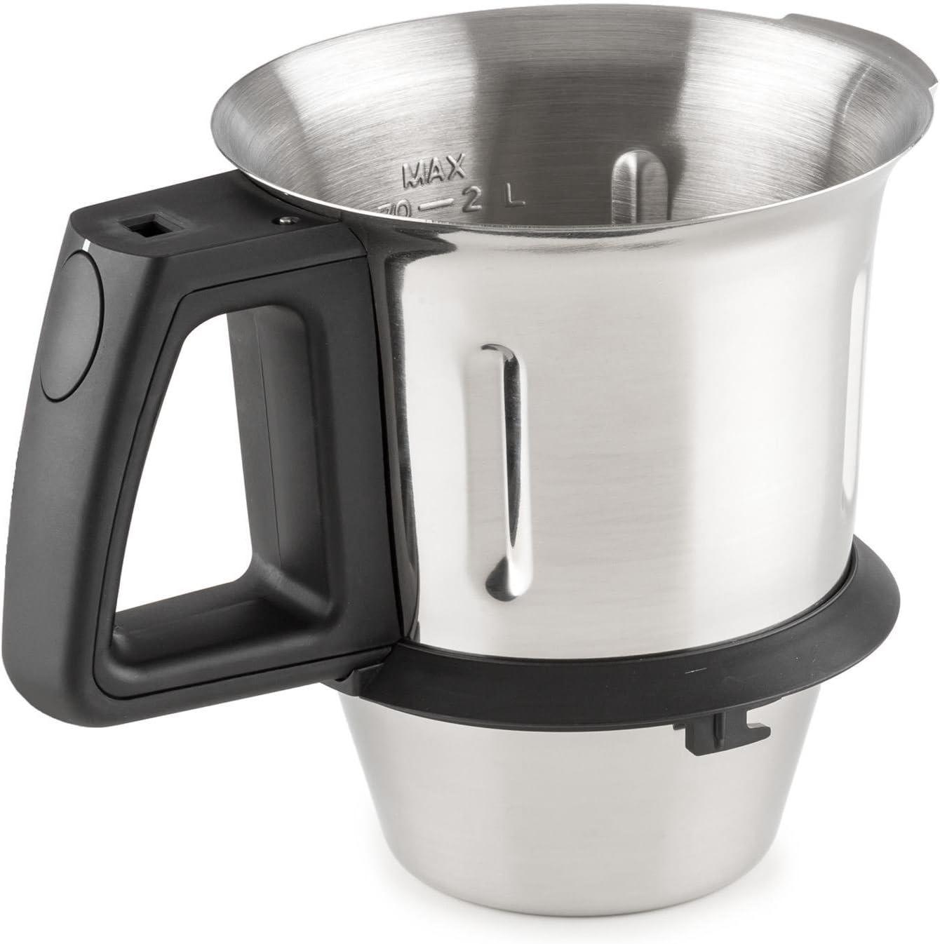 Klarstein Kitchen Hero Recipiente de mezcla accesorio (capacidad 2 litros, acero inoxidable, repuesto robot de cocina)