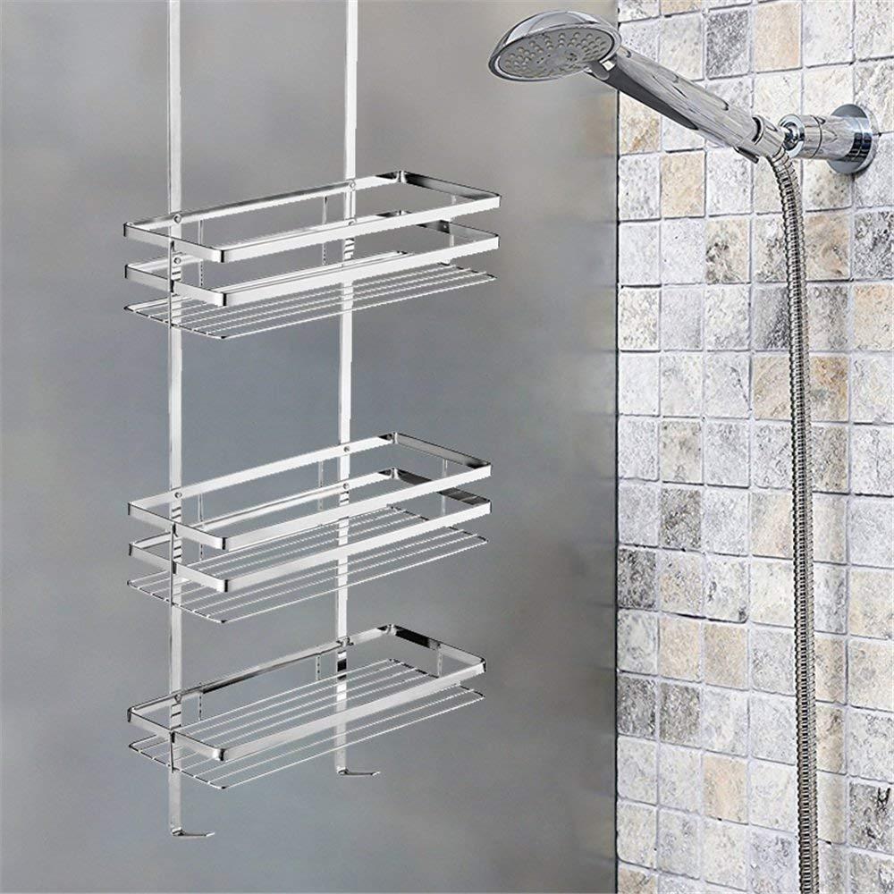 Aufun H/ängeablage Dusche Badezimmerablagen und-regale Badezimmerregale Badregal aus Chrom Duschablage ohne Bohren 3 B/öden 800x300x115mm Silber