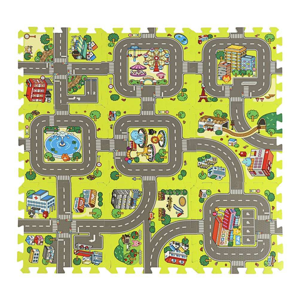 ASSR Road Rally Play Foam Floor Tiles for Kids, 35x35inch Large 9 Piece Interlocking Foam Mats Soft Alternative to Race Track Rug, Perfect Hot Wheels Mat or Other Toy Cars