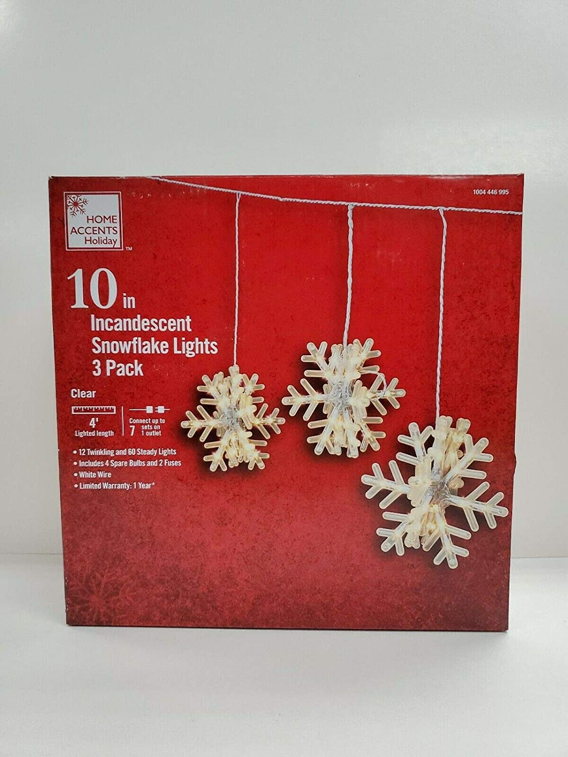 Home Accents Holiday 10 in Incandescent Snowflake Lights - 3 Pack Clear (1 Box)