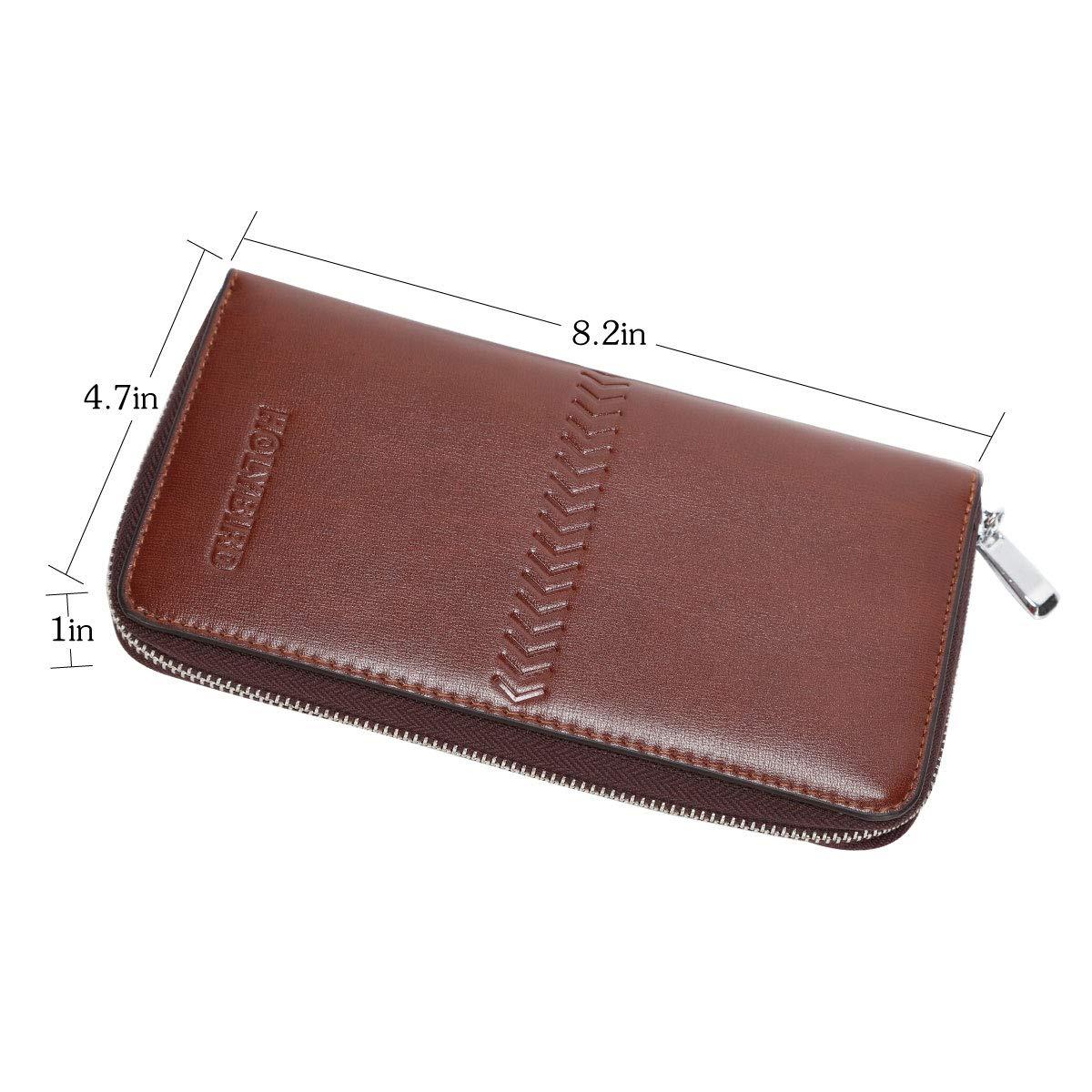 Mens Clutch Genuine Leather Handbag Organizer Checkbook Wallet Card Case by HOLYBIRD (Image #6)