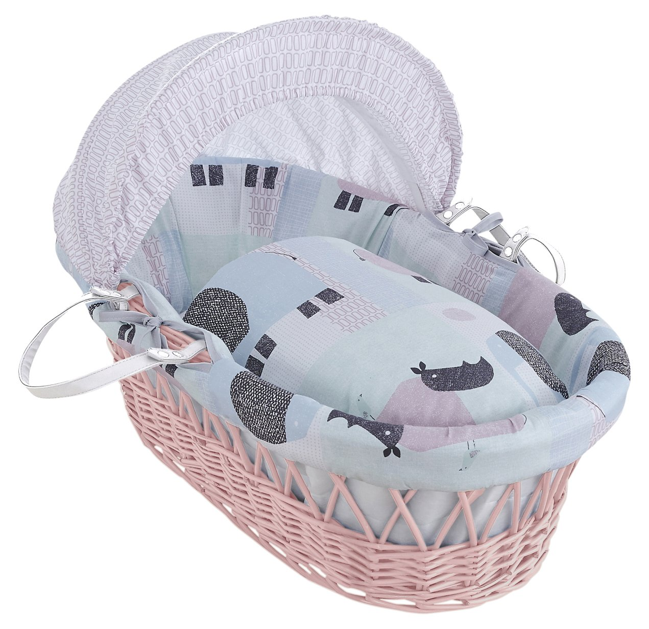 Clair de Lune Stanley & Pip Pink Wicker Moses Basket inc. bedding, mattress & adjustable hood CL5790PK