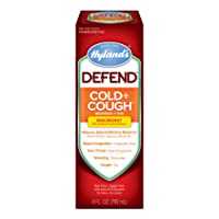 Cold and Cough Medicine by Hyland's Defend, Non-Drowsy, Cough Syrup, Decongestant, and Sore Throat Relief, Natural Cold Medicine for Adults, 4 Oz