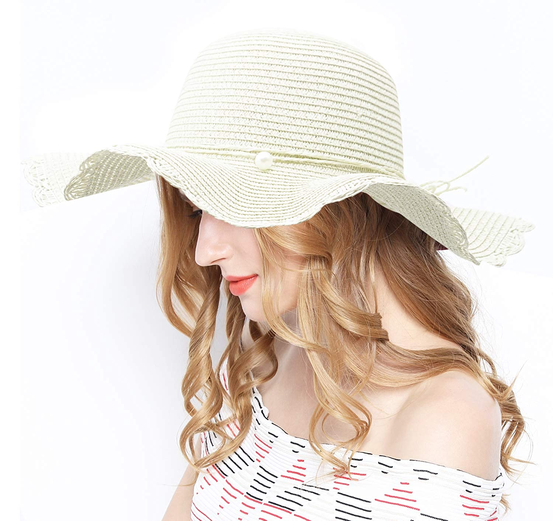 White Lovful Women Wide Brim Sun Hat Summer Beach Cap UV Packable Straw Hat