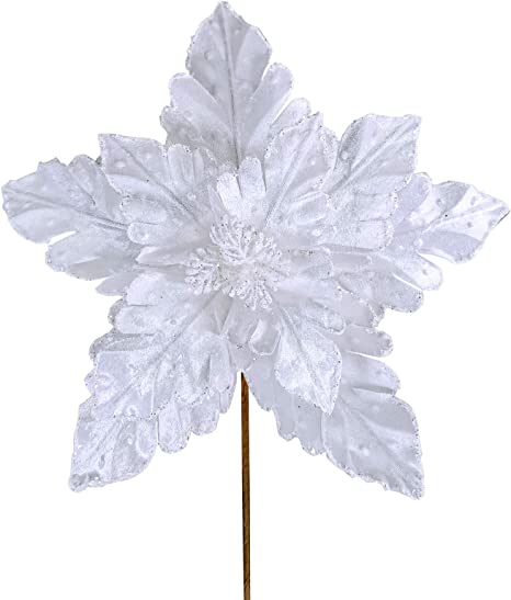Christmas Wreaths Floral White Artificial Silk Poinsettia w//Wire Decorating