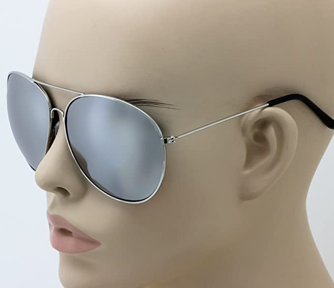 6a447c407 Image Unavailable. Image not available for. Color: Elite- Super Oversized  Big XL Wide Frame Extra Large Aviator Sunglasses Mirror Lens 150mm