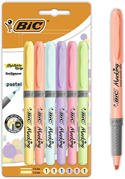 BIC Highlighter Grip Pastel Marcadores de Punta Biselada Regulable ...
