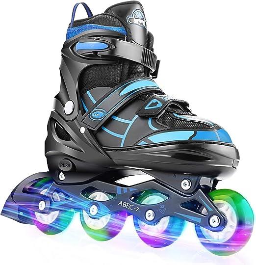 Hikole Inline Skates Adjustable Roller Skates Blade Light Up Flashing Skates Wheels Inline Skates Blades for Toddler Boys Mesh Breathable 3 Size Inline Skates for Beginners Children Boys Girls